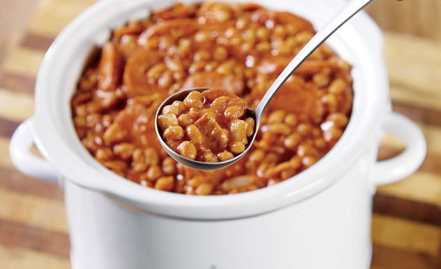 Kettle-Cooked Baked Beans with Smoked Sausage Recipe